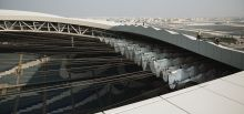 Set of safety equipments on an architectural stadium in Qatar - Al Wakrah, Qatar